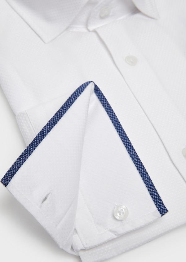 Chemise habillée Slim en coton façonné blanc à poignets-mixtes - Father and Sons 5262
