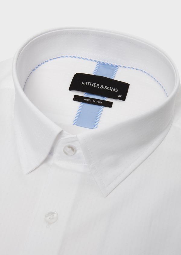 Chemise habillée Slim en coton façonné blanc avec liseré bleu - Father and Sons 5282