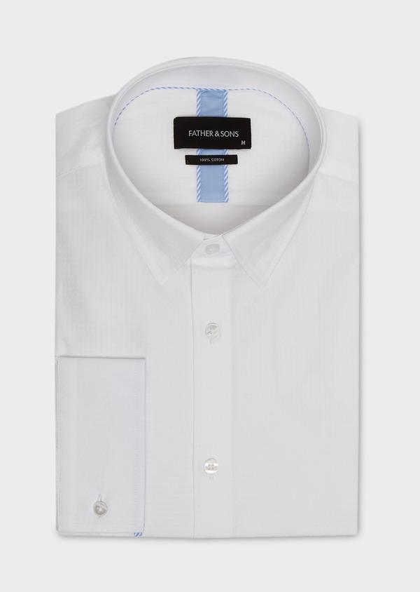 Chemise habillée Slim en coton façonné blanc avec liseré bleu - Father and Sons 5280