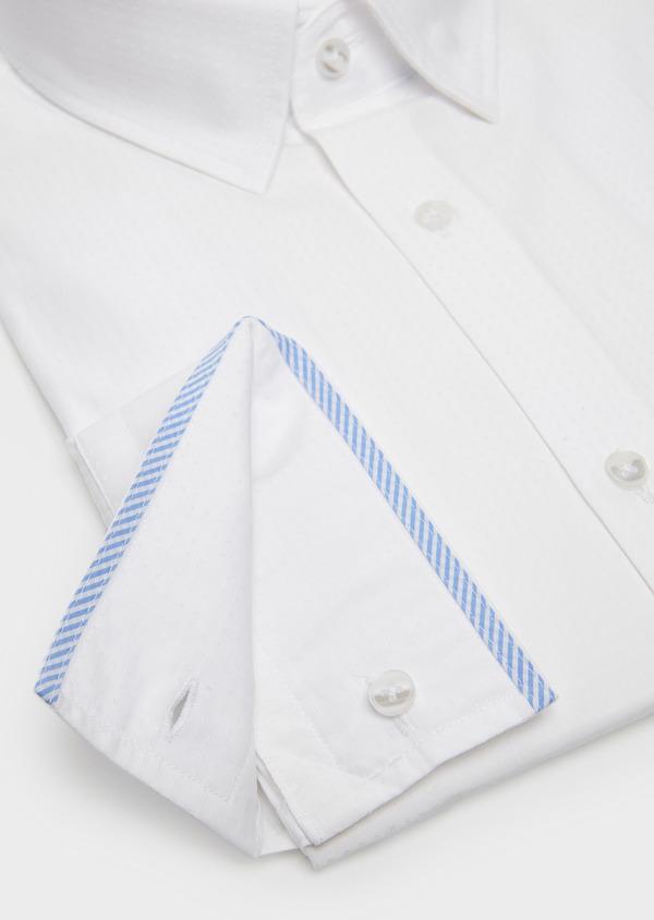 Chemise habillée Slim en coton façonné blanc avec liseré bleu - Father and Sons 5283