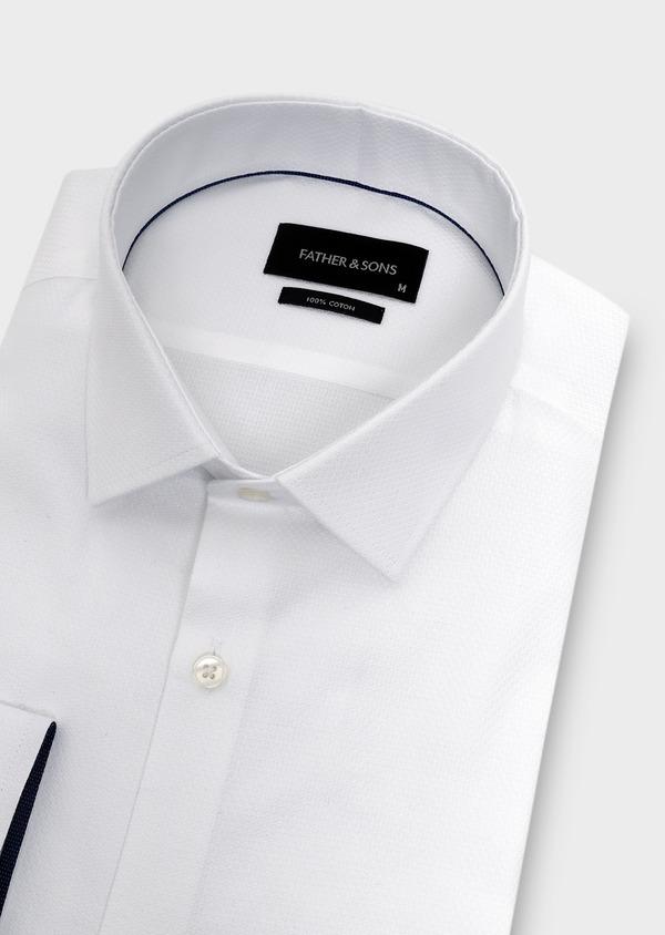 Chemise habillée Slim en coton façonné blanc - Father and Sons 5289