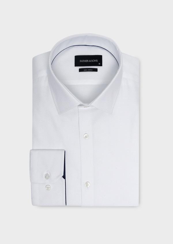 Chemise habillée Slim en coton façonné blanc - Father and Sons 5287