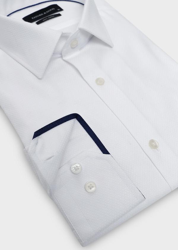 Chemise habillée Slim en coton façonné blanc - Father and Sons 5290