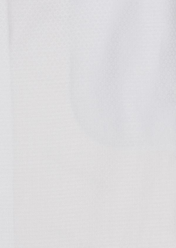 Chemise habillée Slim en coton façonné blanc avec liseré marron - Father and Sons 5316
