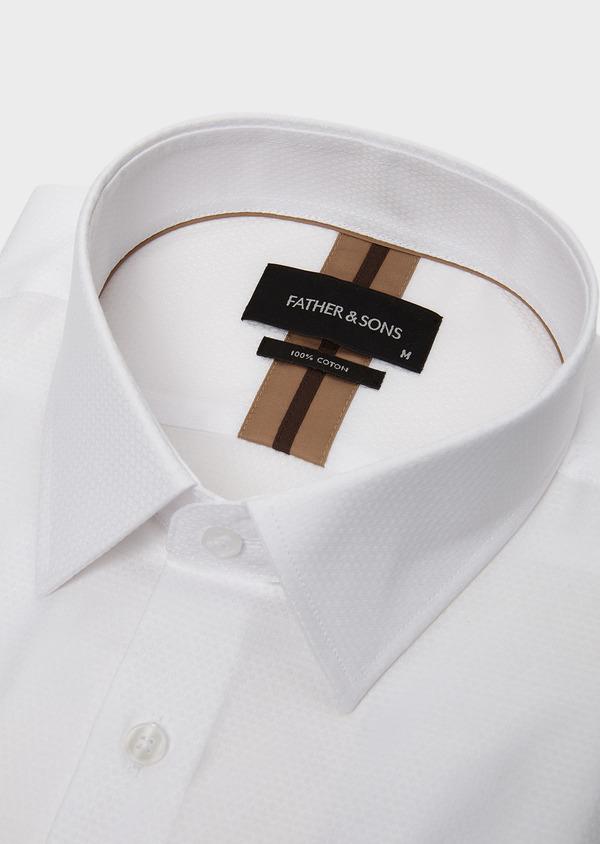 Chemise habillée Slim en coton façonné blanc avec liseré marron - Father and Sons 5317
