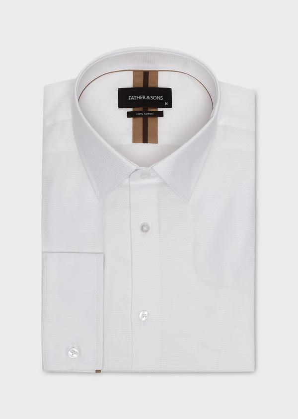 Chemise habillée Slim en coton façonné blanc avec liseré marron - Father and Sons 5315