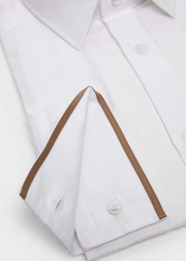 Chemise habillée Slim en coton façonné blanc avec liseré marron - Father and Sons 5318