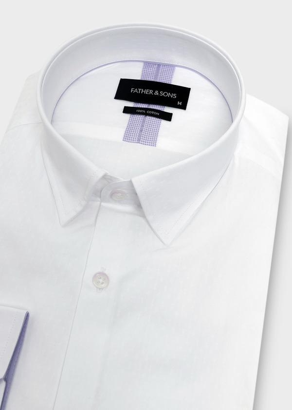 Chemise habillée Slim en coton façonné blanc à motifs ethniques - Father and Sons 5324