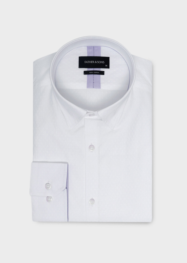 Chemise habillée Slim en coton façonné blanc à motifs ethniques - Father and Sons 5322