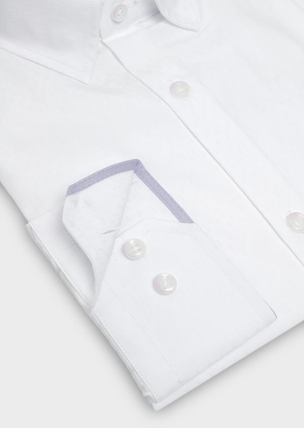 Chemise habillée Slim en coton façonné blanc à motifs ethniques - Father and Sons 5325