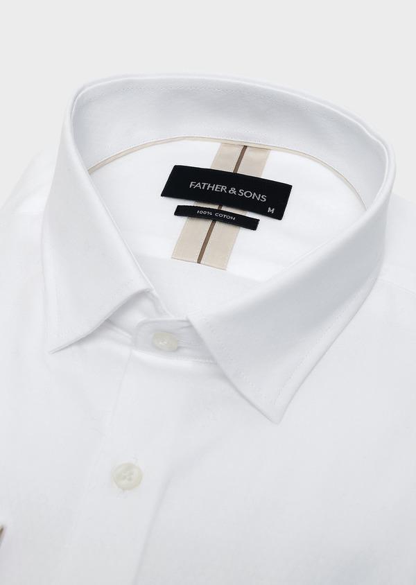 Chemise habillée Slim en coton façonné blanc à motifs losanges - Father and Sons 5366