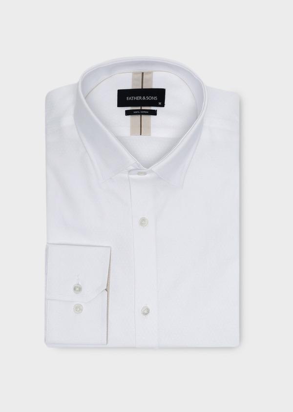 Chemise habillée Slim en coton façonné blanc à motifs losanges - Father and Sons 5364