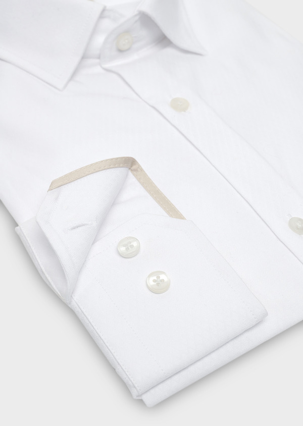 Chemise habillée Slim en coton façonné blanc à motifs losanges - Father and Sons 5367