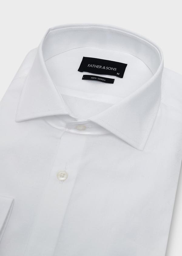 Chemise habillée Slim en coton façonné blanc à motifs fantaisie - Father and Sons 5394