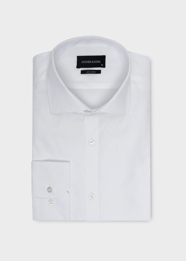 Chemise habillée Slim en coton façonné blanc à motifs fantaisie - Father and Sons 5392