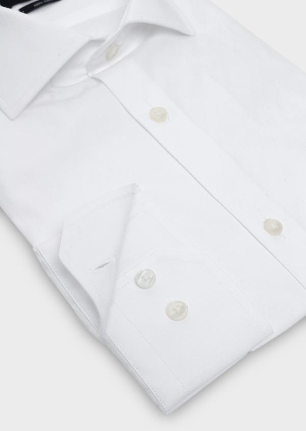 Chemise habillée Slim en coton façonné blanc à motifs fantaisie - Father and Sons 5395