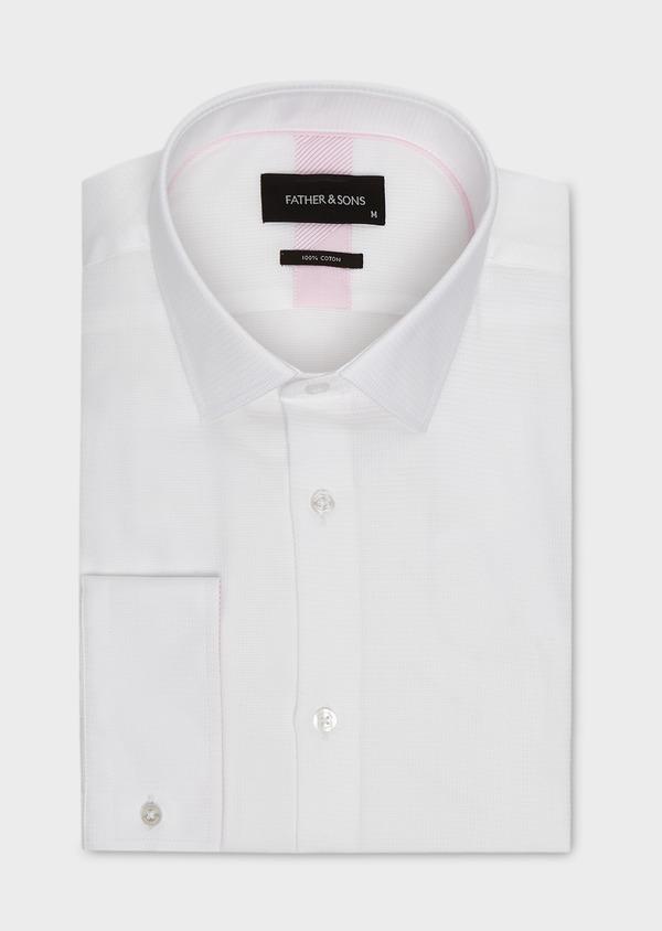 Chemise habillée Slim en coton façonné blanc à liseré rose - Father and Sons 5399