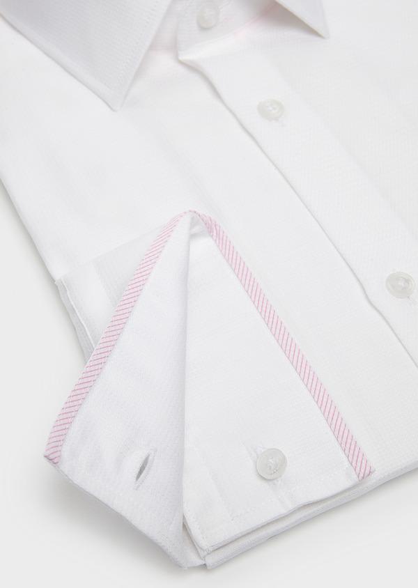 Chemise habillée Slim en coton façonné blanc à liseré rose - Father and Sons 5402