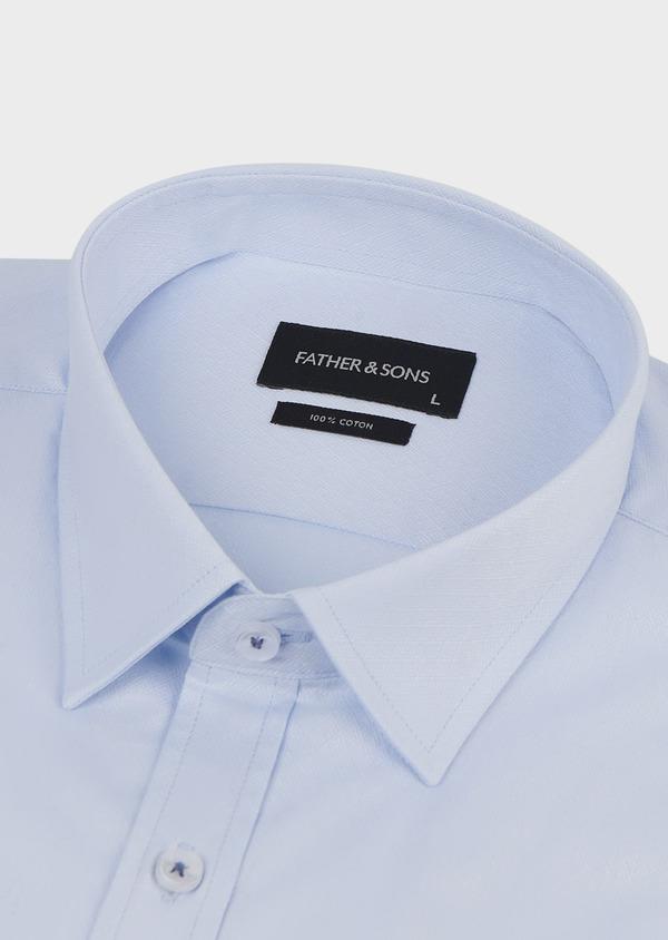 Chemise habillée Slim en coton façonné bleu ciel - Father and Sons 5170