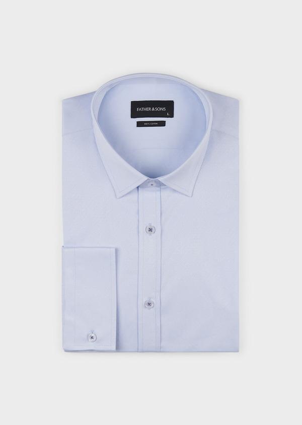 Chemise habillée Slim en coton façonné bleu ciel - Father and Sons 5168