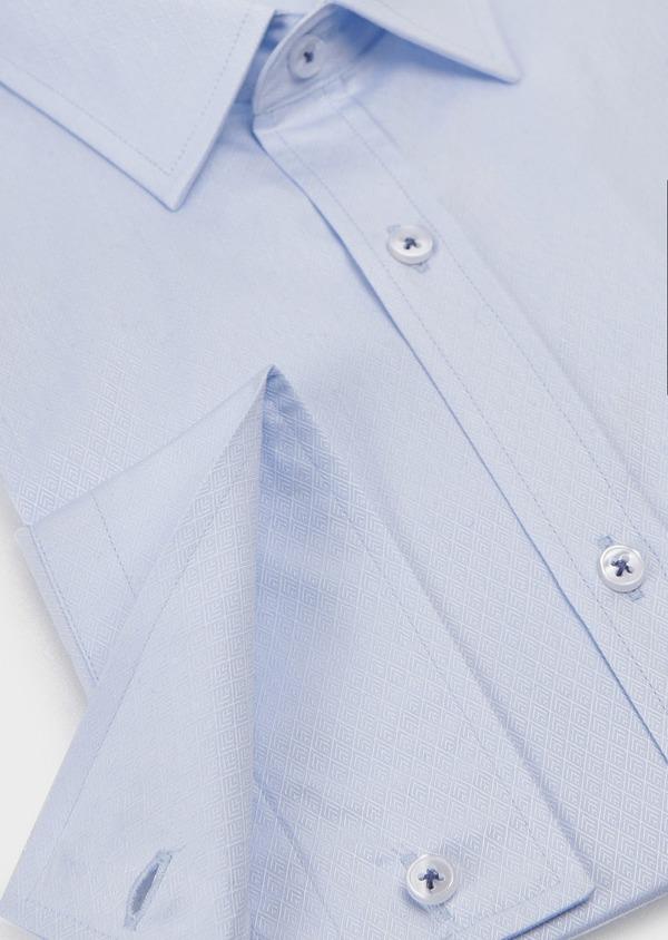 Chemise habillée Slim en coton façonné bleu ciel - Father and Sons 5171