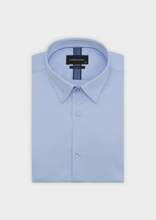 Chemise habillée Slim en coton façonné bleu ciel - Father and Sons 5294