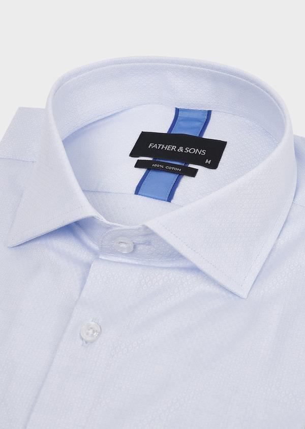 Chemise habillée Slim en coton façonné bleu ciel à poignets mixtes - Father and Sons 5303