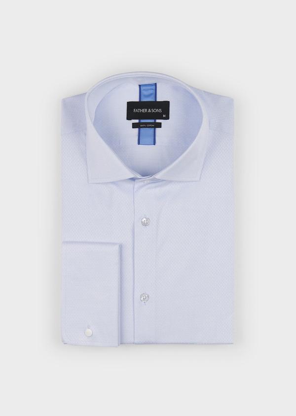 Chemise habillée Slim en coton façonné bleu ciel à poignets mixtes - Father and Sons 5301