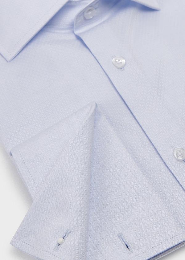 Chemise habillée Slim en coton façonné bleu ciel à poignets mixtes - Father and Sons 5304