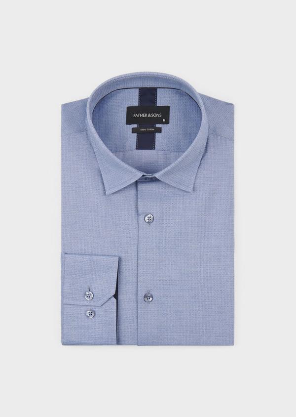 Chemise habillée Slim en coton façonné à pois blanc - Father and Sons 5336