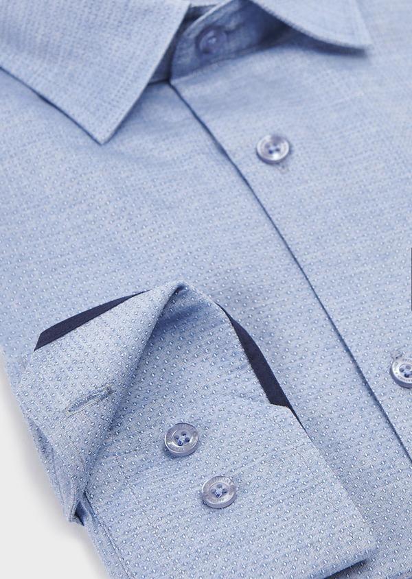 Chemise habillée Slim en coton façonné à pois blanc - Father and Sons 5339