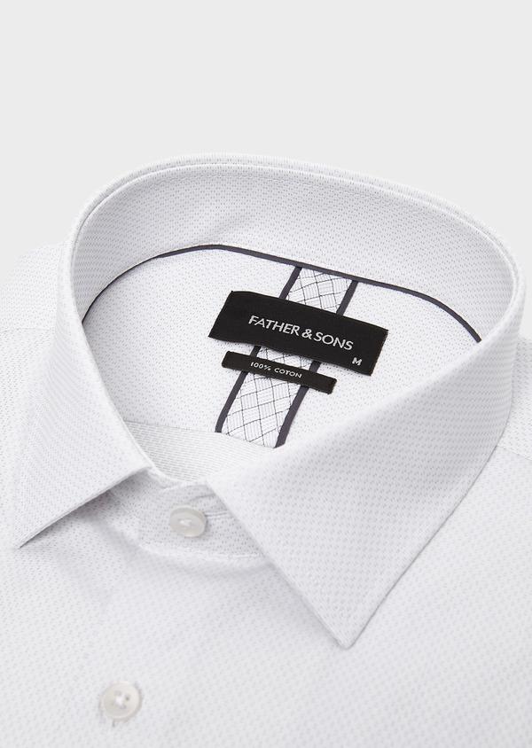 Chemise habillée Slim en coton façonné gris clair - Father and Sons 5226