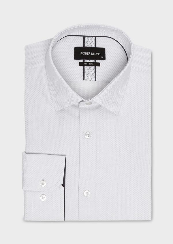 Chemise habillée Slim en coton façonné gris clair - Father and Sons 5224