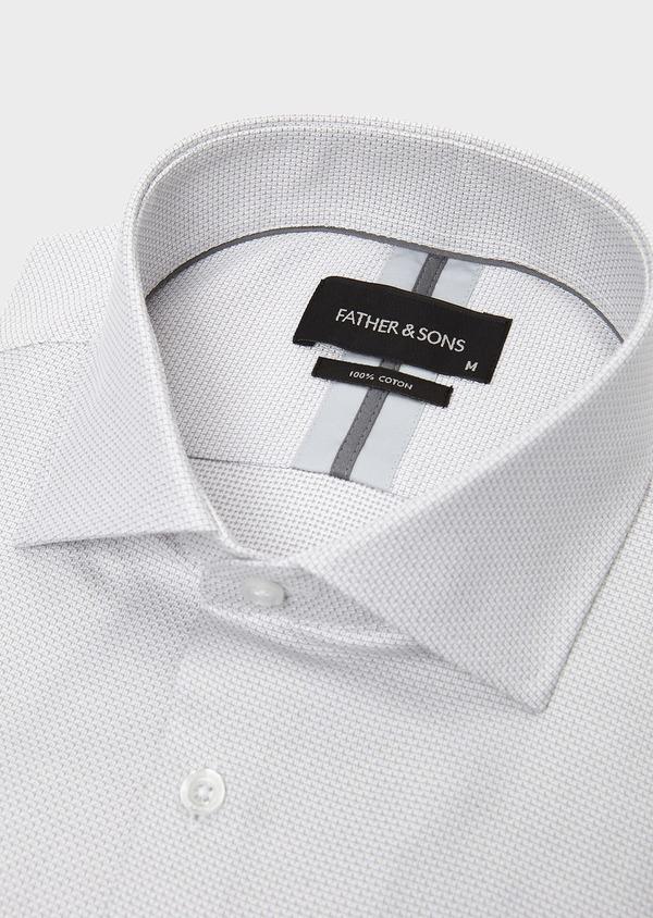 Chemise habillée Slim en coton façonné gris clair à poignets mixtes - Father and Sons 5233