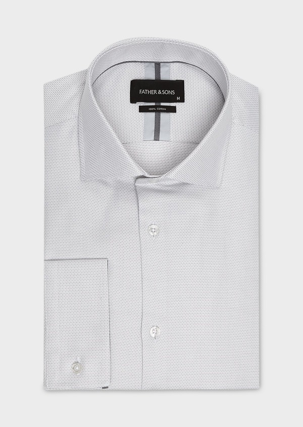 Chemise habillée Slim en coton façonné gris clair à poignets mixtes - Father and Sons 5231