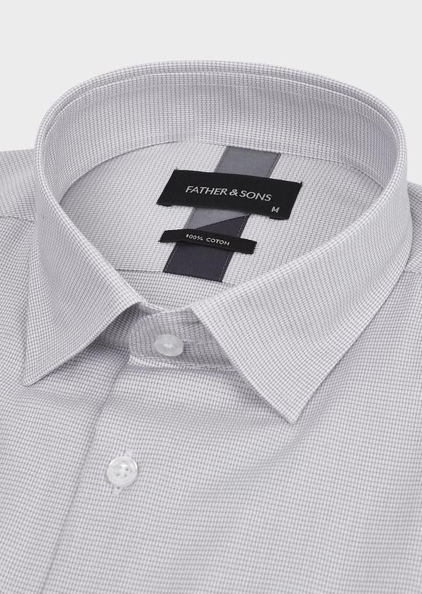 Chemise habillée Slim en popeline de coton à motifs géométriques gris - Father and Sons 5240
