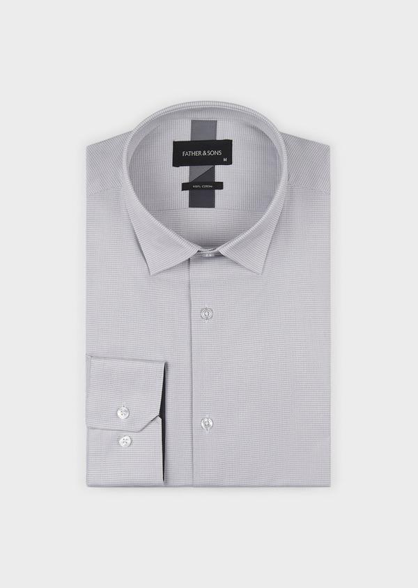 Chemise habillée Slim en popeline de coton à motifs géométriques gris - Father and Sons 5238