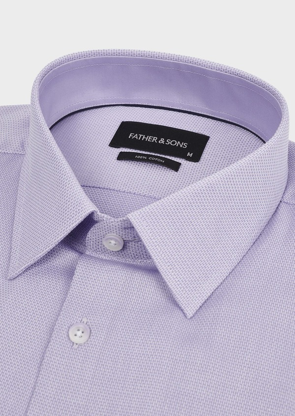 Chemise habillée Slim en coton tissé jacquard uni violet - Father and Sons 5331