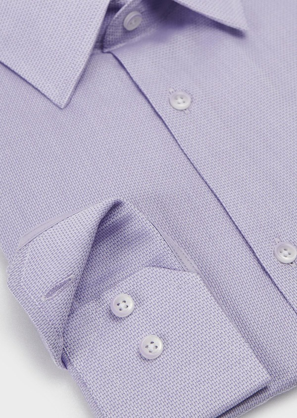 Chemise habillée Slim en coton tissé jacquard uni violet - Father and Sons 5332