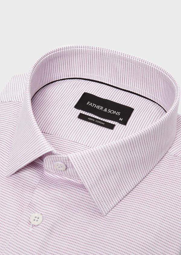 Chemise habillée Slim en coton façonné violet - Father and Sons 5380