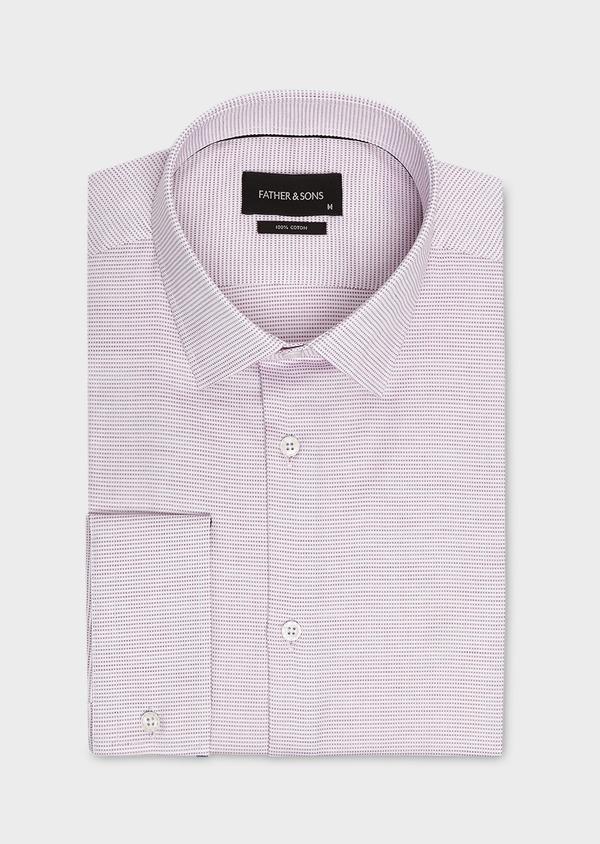 Chemise habillée Slim en coton façonné violet - Father and Sons 5378