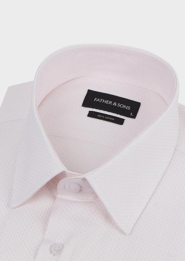 Chemise habillée Slim en coton façonné rose pale - Father and Sons 5205