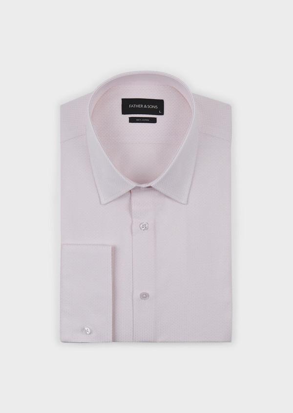 Chemise habillée Slim en coton façonné rose pale - Father and Sons 5203