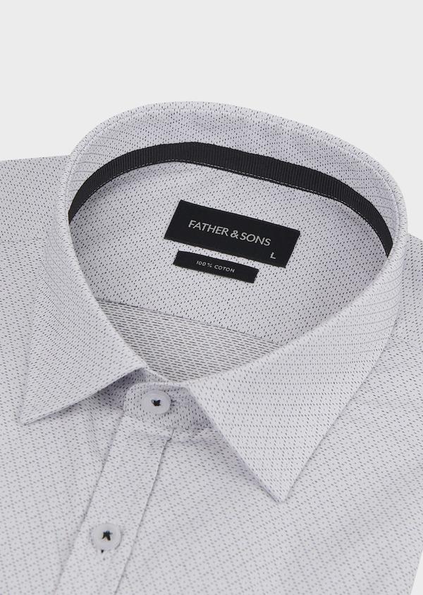 Chemise habillée Regular en popeline de coton à motifs losanges bleus - Father and Sons 5135