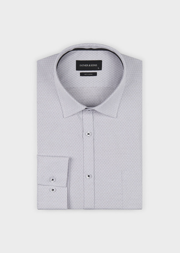Chemise habillée Regular en popeline de coton à motifs losanges bleus - Father and Sons 5133