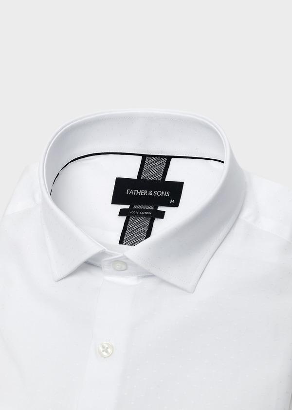 Chemise habillée Slim en coton façonné blanc à pois - Father and Sons 5373