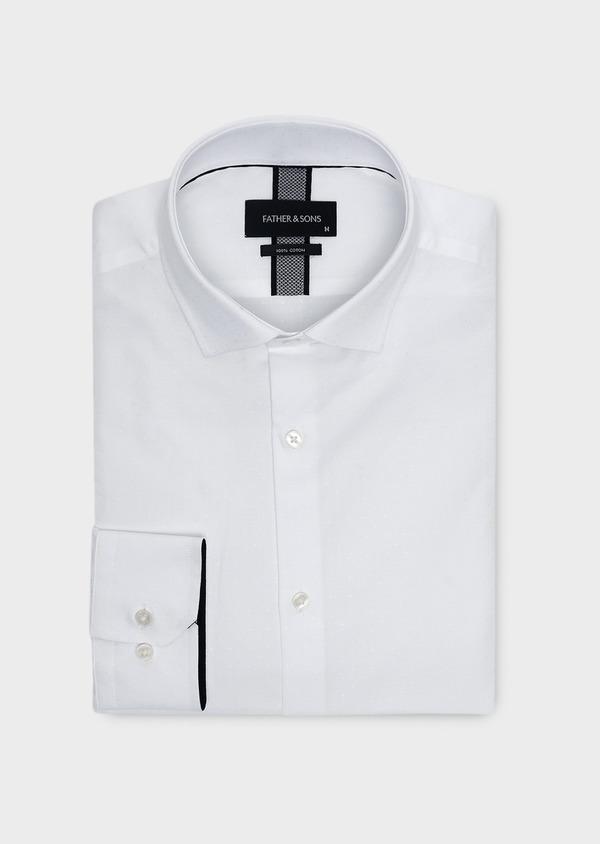 Chemise habillée Slim en coton façonné blanc à pois - Father and Sons 5371