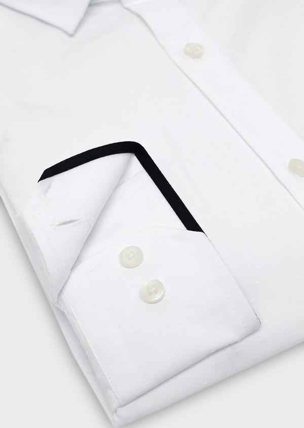 Chemise habillée Slim en coton façonné blanc à pois - Father and Sons 5374