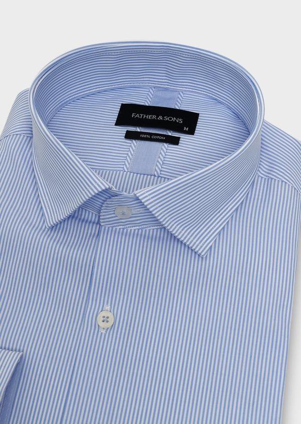 Chemise habillée Slim en popeline de coton rayée bleue - Father and Sons 5415