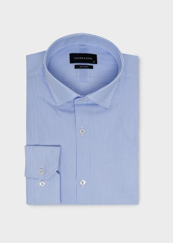 Chemise habillée Slim en popeline de coton rayée bleue - Father and Sons 5413